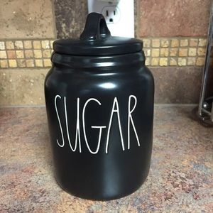 rae dunn black baby/small sugar canister. New